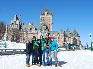 In front at the chateau frontenac.