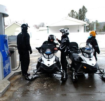 Át the petrol station.